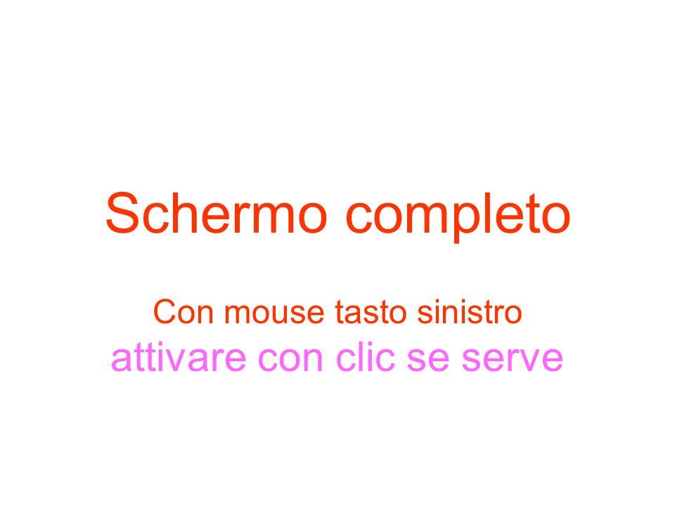 Schermo completo Con mouse tasto sinistro attivare con clic se serve