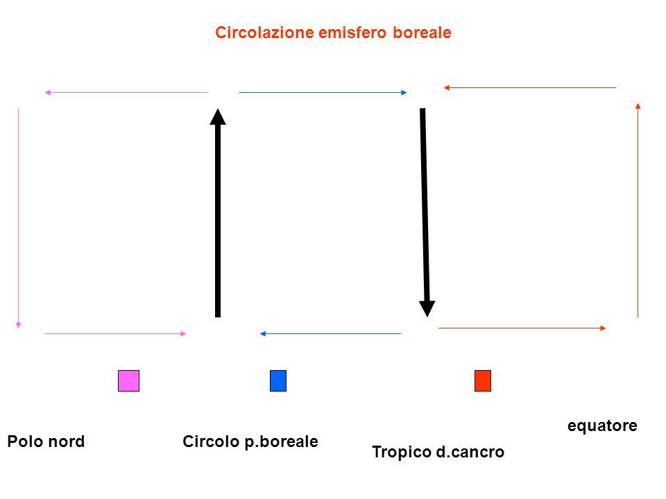 Circolazione emisfero boreale Polo nord equatore Tropico d.cancro Circolo p.boreale