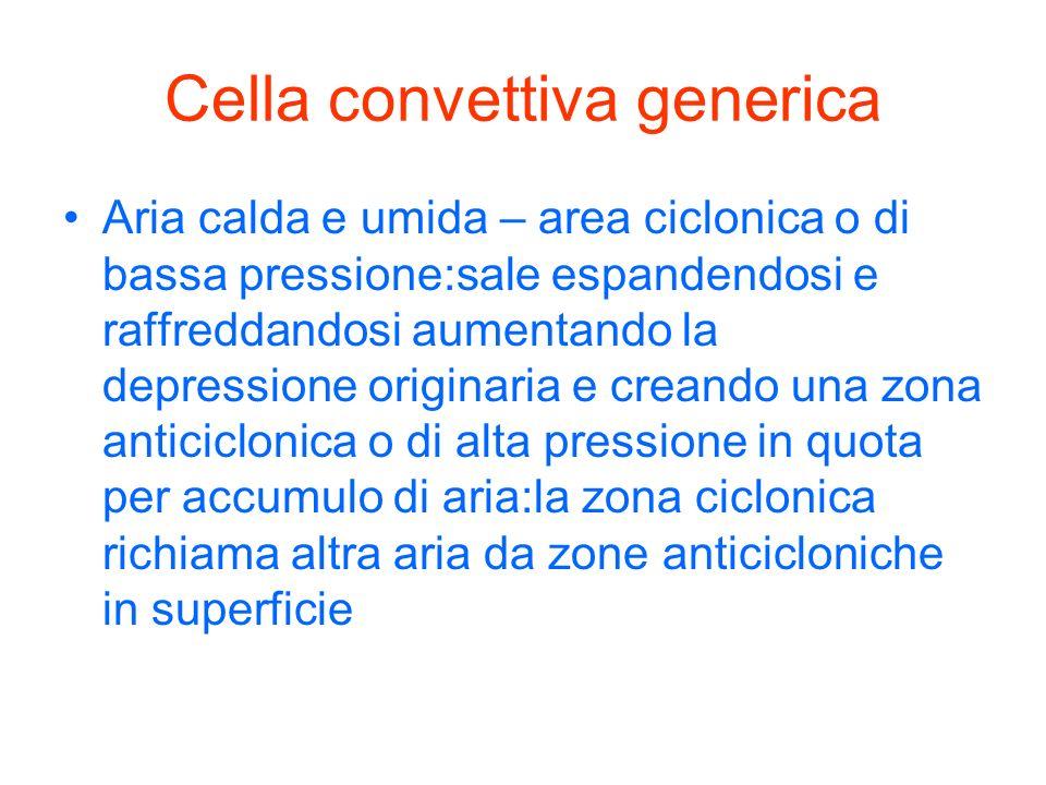 Cella convettiva generica Aria calda e umida – area ciclonica o di bassa pressione:sale espandendosi e raffreddandosi aumentando la depressione origin