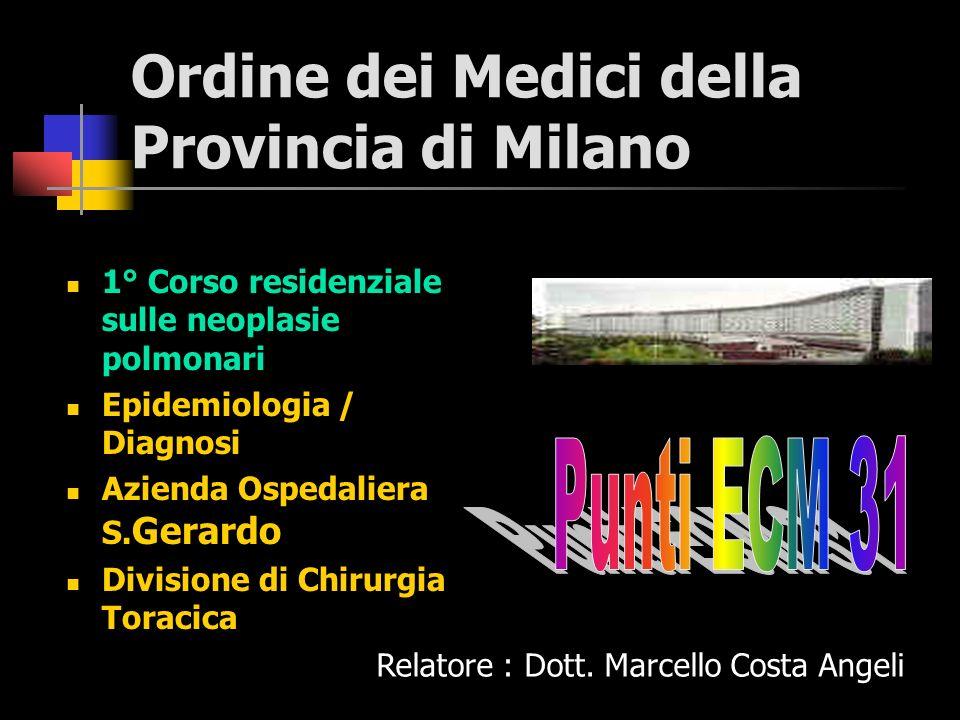 Ordine dei Medici della Provincia di Milano 1° Corso residenziale sulle neoplasie polmonari Epidemiologia / Diagnosi Azienda Ospedaliera S.