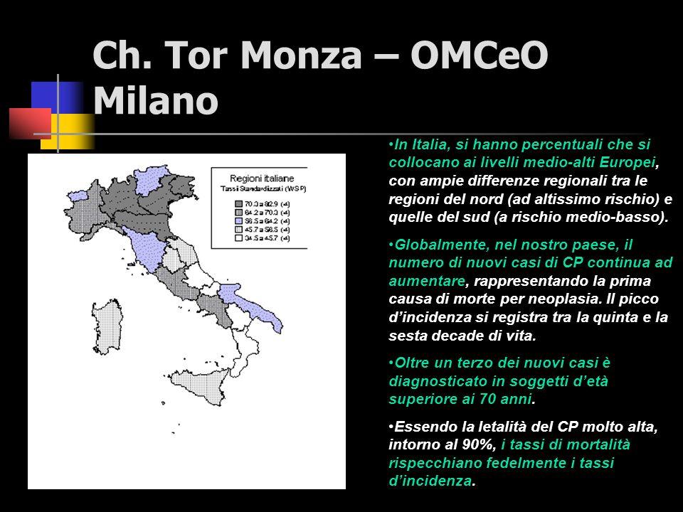 Ch. Tor Monza – OMCeO Milano Le più recenti statistiche italiane sono quelle elaborate dal Registro Tumori del Piemonte e si riferiscono al 1991. In t