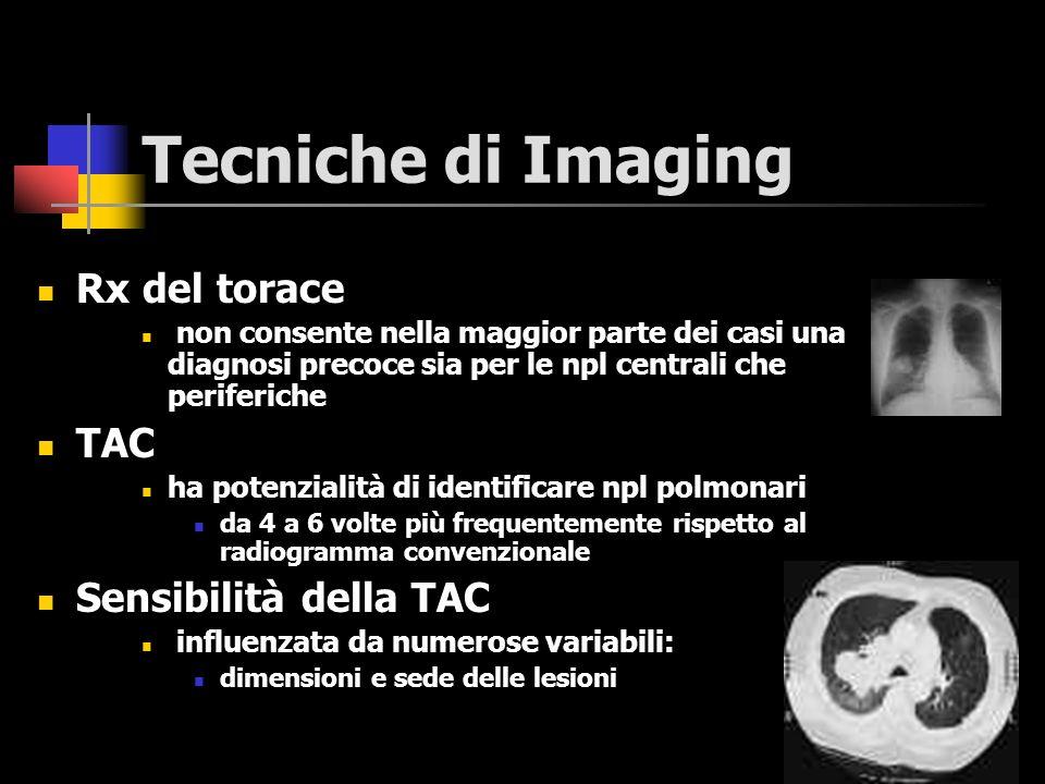 La radiografia del torace Metodica relativamente semplice Facilmente applicabile Largamente disponibile Basso costo Accuratezza accettabile TAC del torace: metodica realmente superiore in termini di numero complessivo di npl identificabili ?!