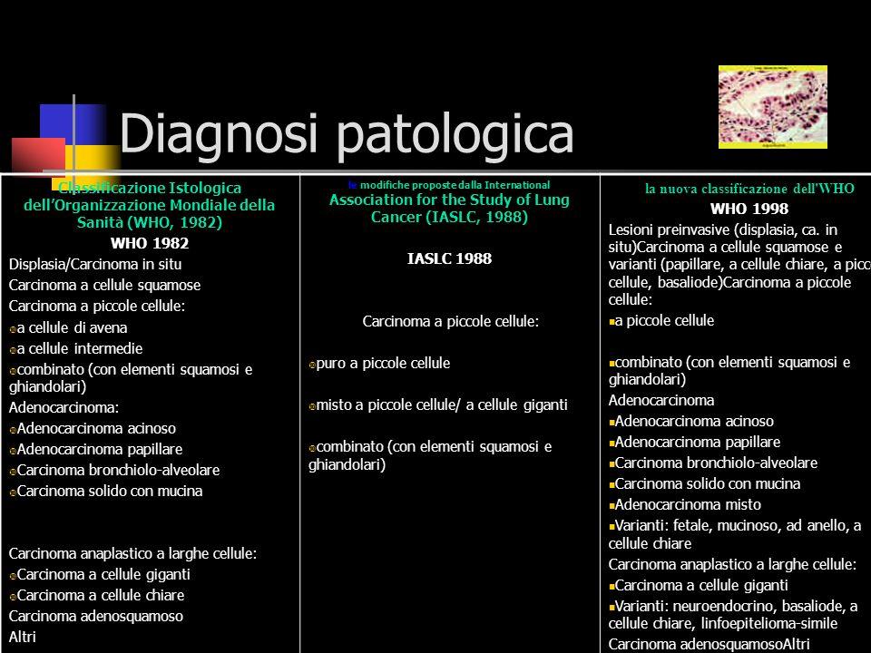 Diagnosi patologica La diagnosi patologica presenta difficoltà diverse a seconda della collocazione centrale o periferica del tumore primario.