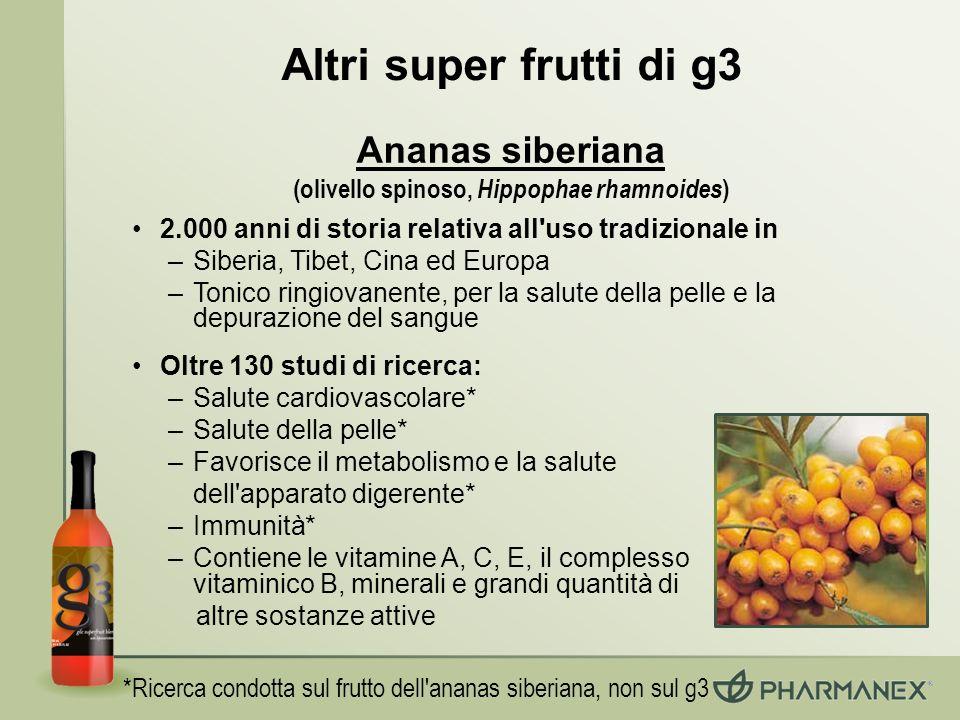 Altri super frutti di g3 2.000 anni di storia relativa all'uso tradizionale in –Siberia, Tibet, Cina ed Europa –Tonico ringiovanente, per la salute de