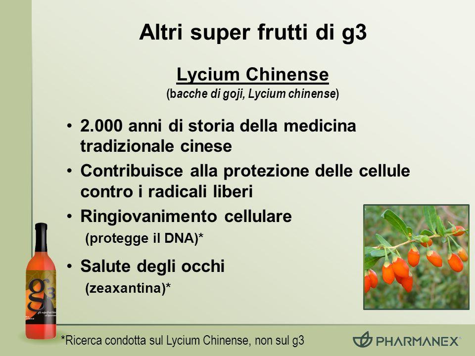 *Ricerca condotta sul Lycium Chinense, non sul g3 2.000 anni di storia della medicina tradizionale cinese Contribuisce alla protezione delle cellule c