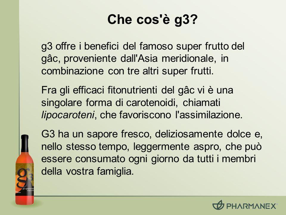 Che cos'è g3? g3 offre i benefici del famoso super frutto del gâc, proveniente dall'Asia meridionale, in combinazione con tre altri super frutti. Fra