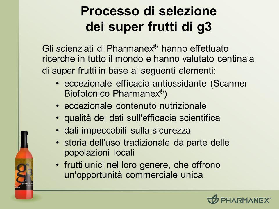 Gli scienziati di Pharmanex ® hanno effettuato ricerche in tutto il mondo e hanno valutato centinaia di super frutti in base ai seguenti elementi: ecc