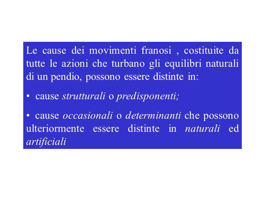 Le cause dei movimenti franosi, costituite da tutte le azioni che turbano gli equilibri naturali di un pendio, possono essere distinte in: cause strut