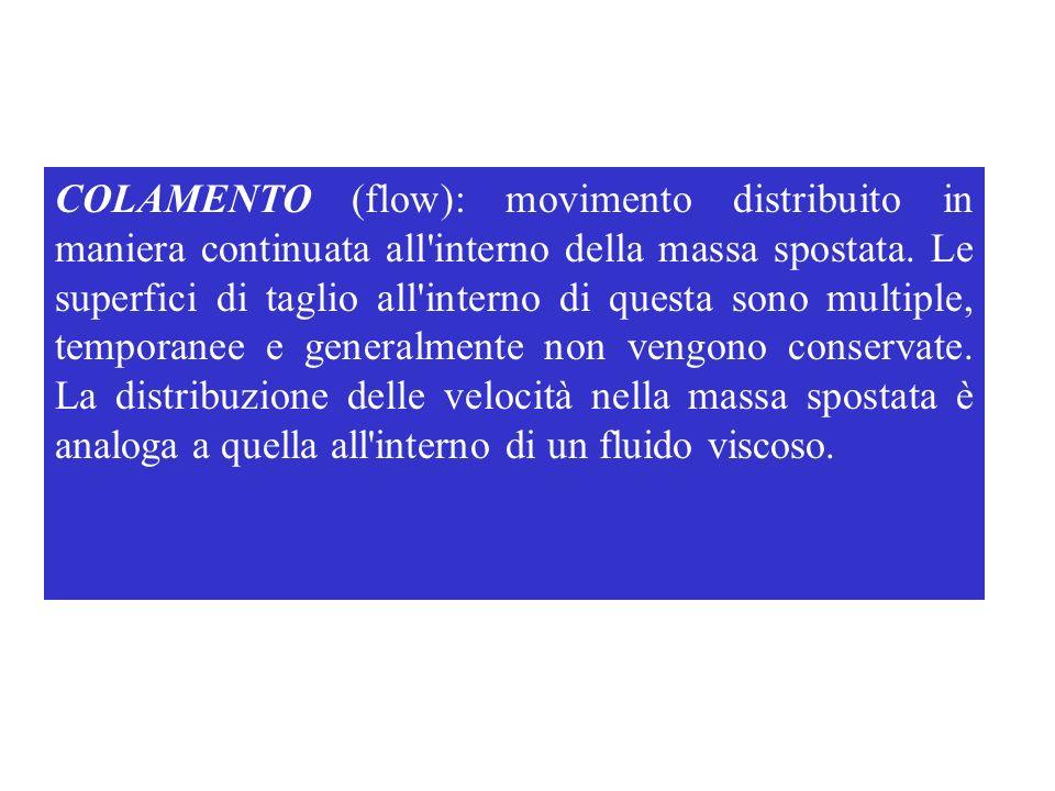COLAMENTO (flow): movimento distribuito in maniera continuata all'interno della massa spostata. Le superfici di taglio all'interno di questa sono mult