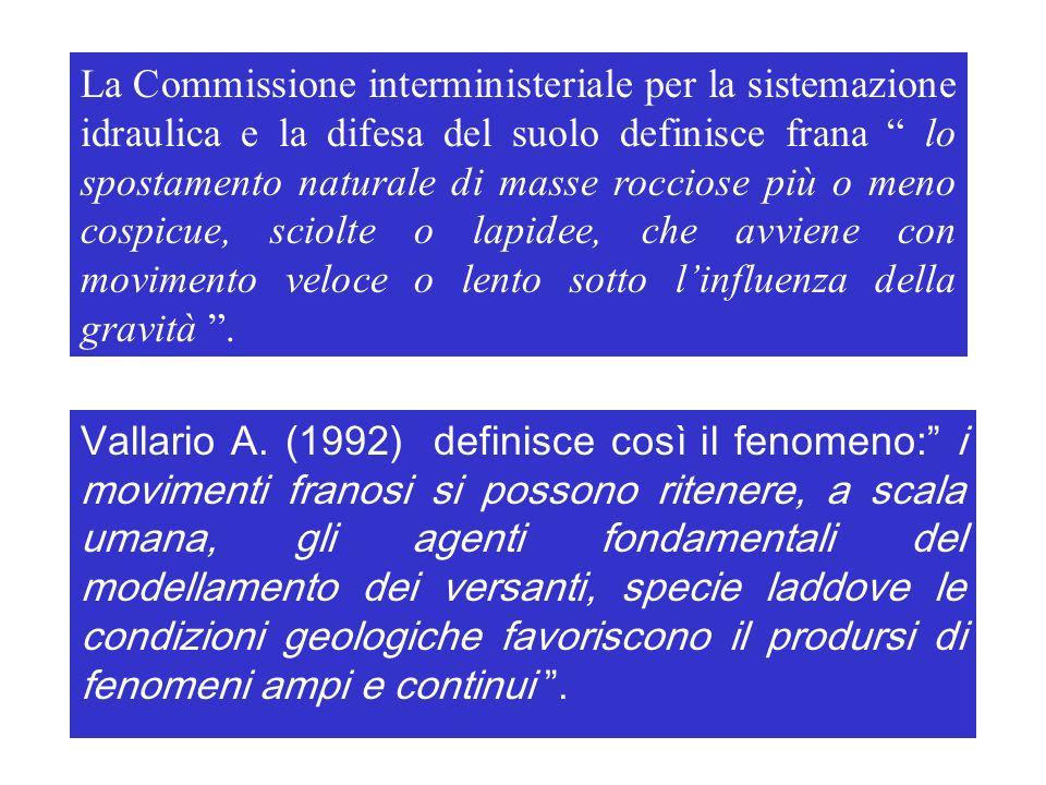 La Commissione interministeriale per la sistemazione idraulica e la difesa del suolo definisce frana lo spostamento naturale di masse rocciose più o m