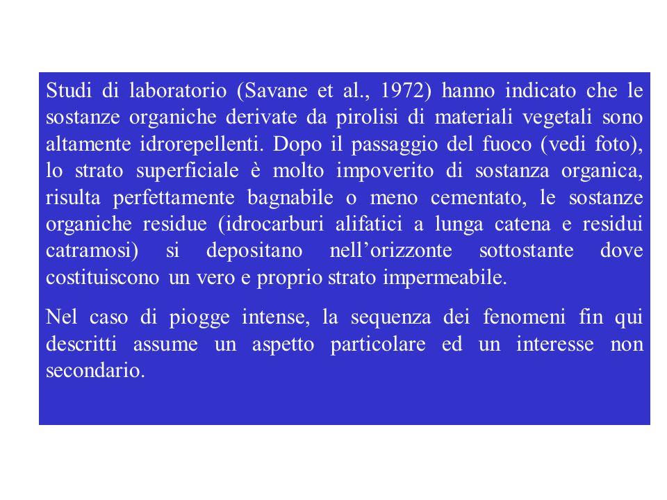 Studi di laboratorio (Savane et al., 1972) hanno indicato che le sostanze organiche derivate da pirolisi di materiali vegetali sono altamente idrorepe