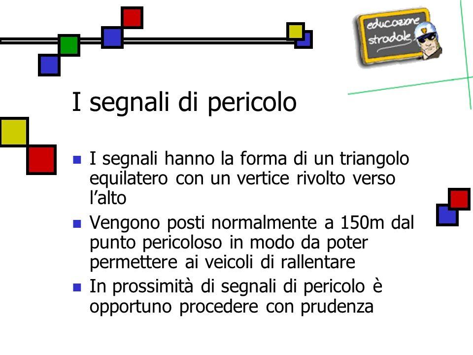I segnali di pericolo Strettoia simmetrica Segnala un restringimento della carreggiata su entrambi i lati.
