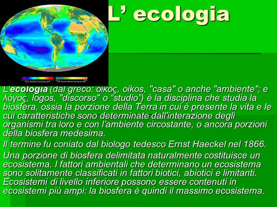 L ecologia L'ecologia (dal greco: οίκος, oikos,