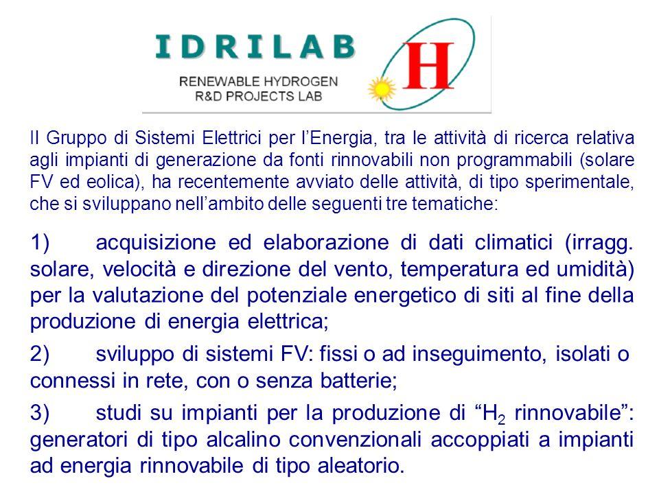 1)acquisizione ed elaborazione di dati climatici (irragg. solare, velocità e direzione del vento, temperatura ed umidità) per la valutazione del poten