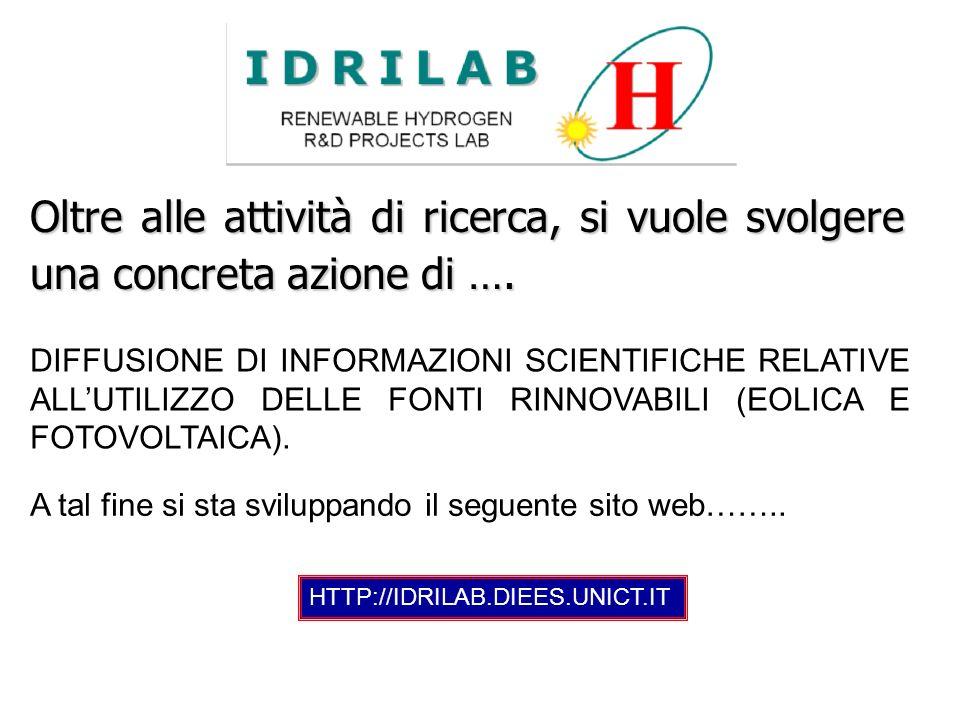 DIFFUSIONE DI INFORMAZIONI SCIENTIFICHE RELATIVE ALLUTILIZZO DELLE FONTI RINNOVABILI (EOLICA E FOTOVOLTAICA). HTTP://IDRILAB.DIEES.UNICT.IT A tal fine