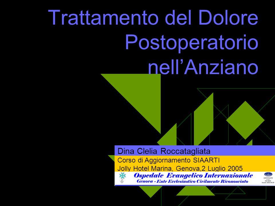 Trattamento del Dolore Postoperatorio nellAnziano Dina Clelia Roccatagliata Corso di Aggiornamento SIAARTI Jolly Hotel Marina, Genova,2 Luglio 2005