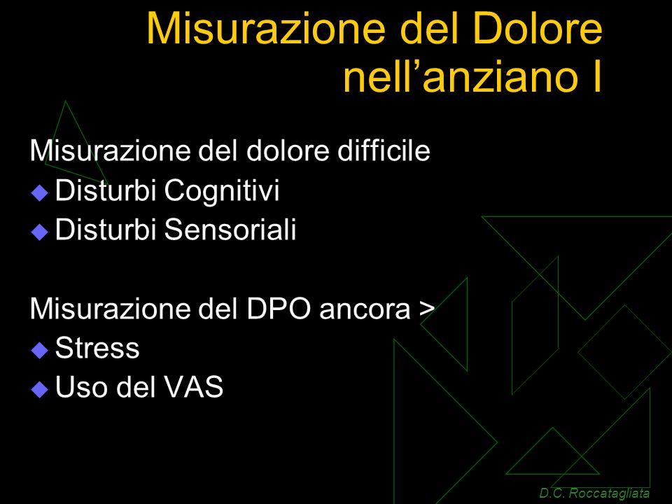 Misurazione del Dolore nellanziano I Misurazione del dolore difficile Disturbi Cognitivi Disturbi Sensoriali Misurazione del DPO ancora > Stress Uso del VAS D.C.