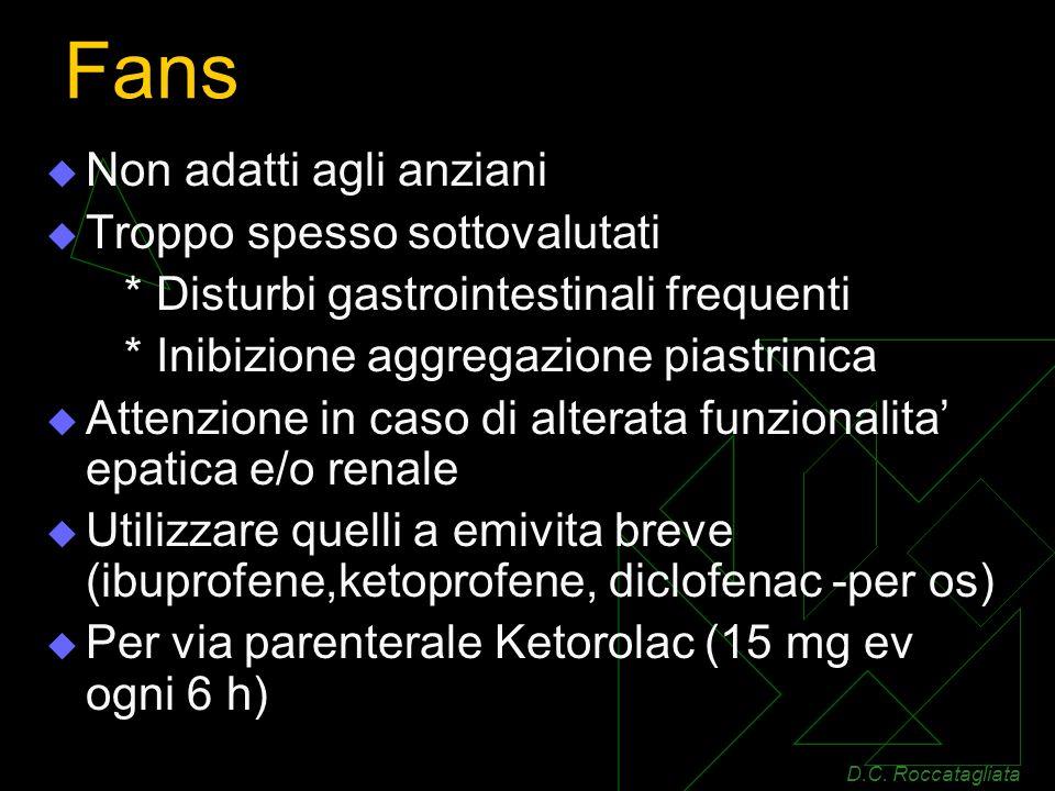 Fans Non adatti agli anziani Troppo spesso sottovalutati * Disturbi gastrointestinali frequenti * Inibizione aggregazione piastrinica Attenzione in caso di alterata funzionalita epatica e/o renale Utilizzare quelli a emivita breve (ibuprofene,ketoprofene, diclofenac -per os) Per via parenterale Ketorolac (15 mg ev ogni 6 h) D.C.