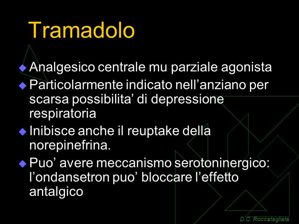 Tramadolo Analgesico centrale mu parziale agonista Particolarmente indicato nellanziano per scarsa possibilita di depressione respiratoria Inibisce anche il reuptake della norepinefrina.