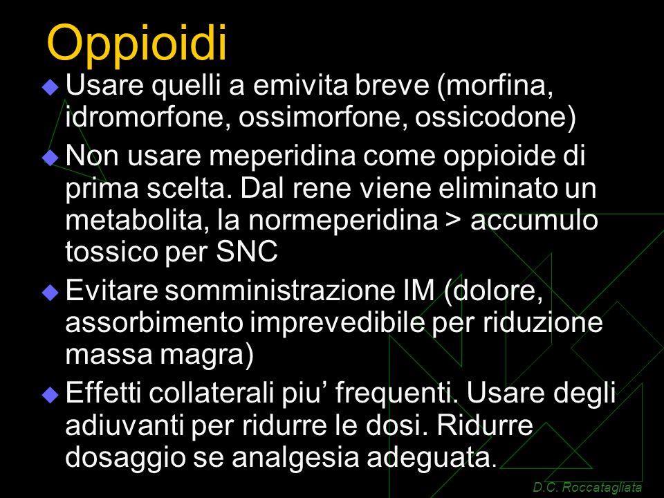 Oppioidi Usare quelli a emivita breve (morfina, idromorfone, ossimorfone, ossicodone) Non usare meperidina come oppioide di prima scelta.