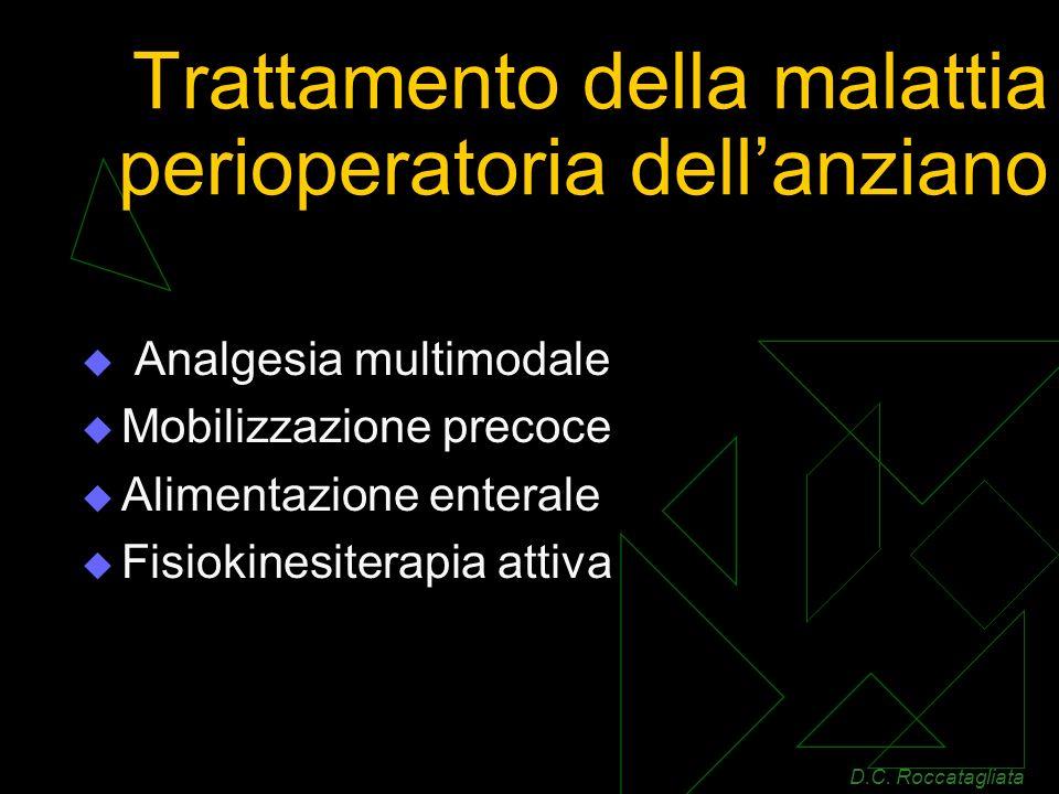 Trattamento della malattia perioperatoria dellanziano Analgesia multimodale Mobilizzazione precoce Alimentazione enterale Fisiokinesiterapia attiva D.C.