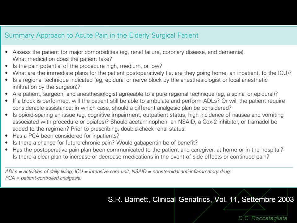 S.R. Barnett, Clinical Geriatrics, Vol. 11, Settembre 2003 D.C. Roccatagliata
