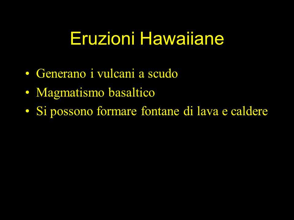 Eruzioni Hawaiiane Generano i vulcani a scudo Magmatismo basaltico Si possono formare fontane di lava e caldere