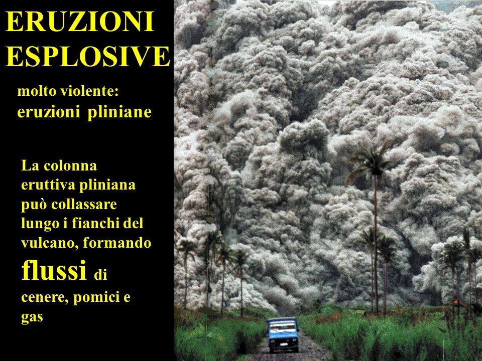 ERUZIONI ESPLOSIVE molto violente: eruzioni pliniane La colonna eruttiva pliniana può collassare lungo i fianchi del vulcano, formando flussi di cenere, pomici e gas