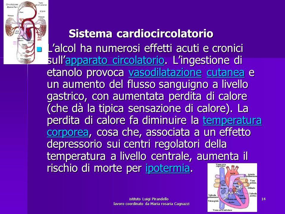istituto Luigi Pirandello lavoro coordinato da Maria rosaria Cagnazzi 15 Lalcol inoltre ha degli effetti a livello cardiaco: provoca aritmie (prolungamento dellintervallo QT nellelettrocardiogramma) e deprime la contrattilità del muscolo cardiaco, portando a lungo termine a una cardiomiopatia.