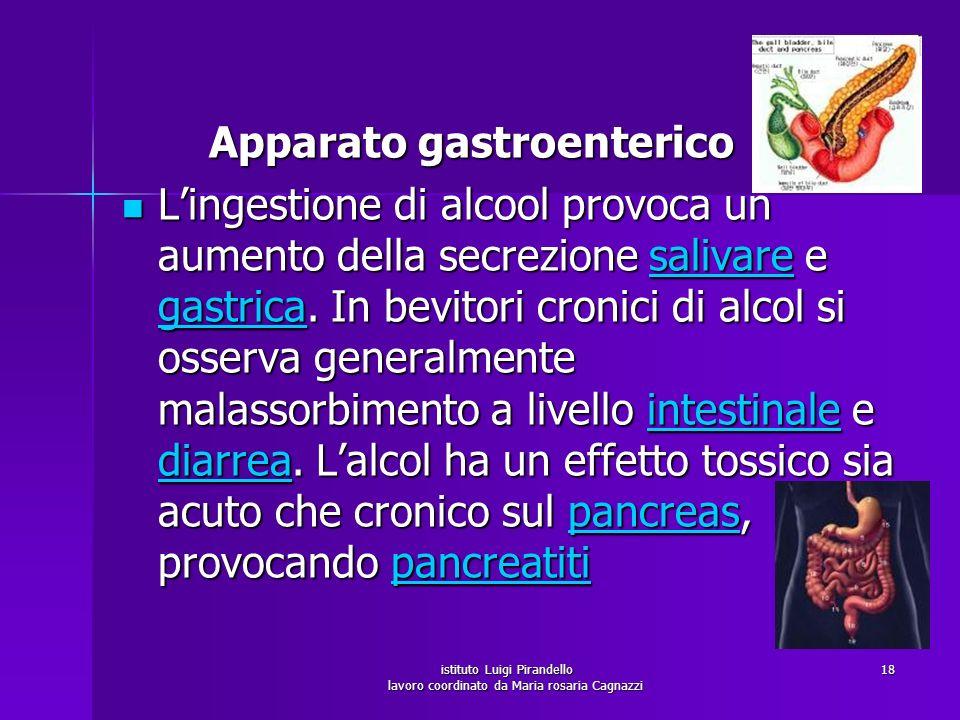 istituto Luigi Pirandello lavoro coordinato da Maria rosaria Cagnazzi 18 Apparato gastroenterico Apparato gastroenterico Lingestione di alcool provoca
