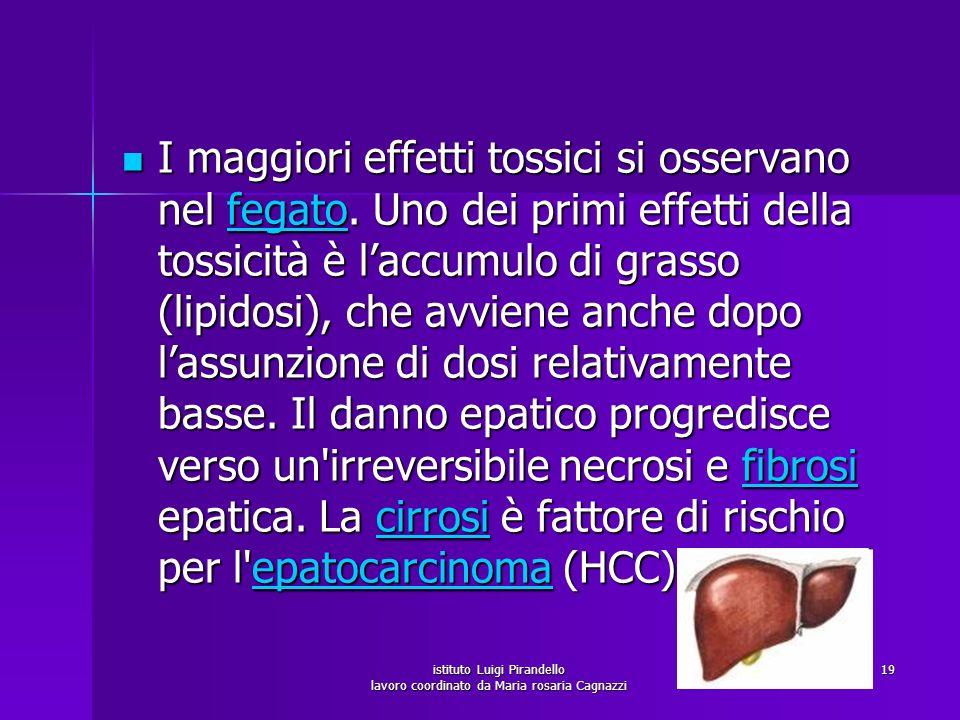 istituto Luigi Pirandello lavoro coordinato da Maria rosaria Cagnazzi 19 I maggiori effetti tossici si osservano nel fegato. Uno dei primi effetti del