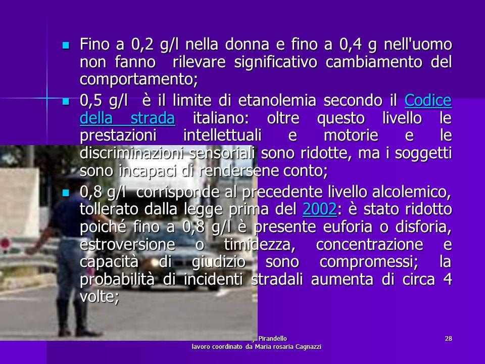 istituto Luigi Pirandello lavoro coordinato da Maria rosaria Cagnazzi 28 Fino a 0,2 g/l nella donna e fino a 0,4 g nell'uomo non fanno rilevare signif