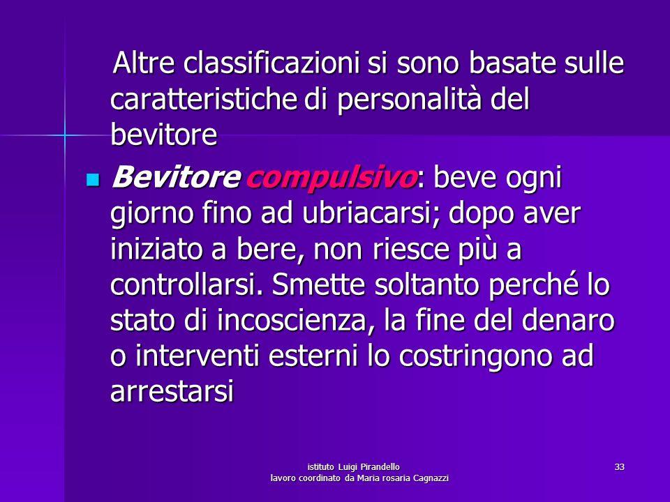istituto Luigi Pirandello lavoro coordinato da Maria rosaria Cagnazzi 33 Altre classificazioni si sono basate sulle caratteristiche di personalità del