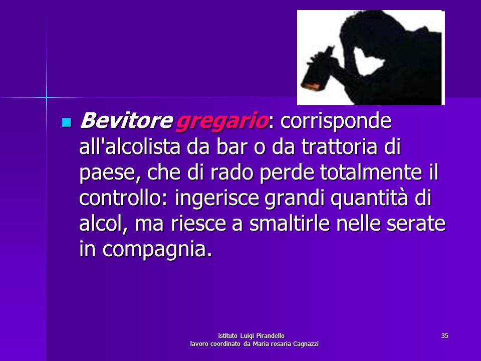istituto Luigi Pirandello lavoro coordinato da Maria rosaria Cagnazzi 35 Bevitore gregario: corrisponde all'alcolista da bar o da trattoria di paese,