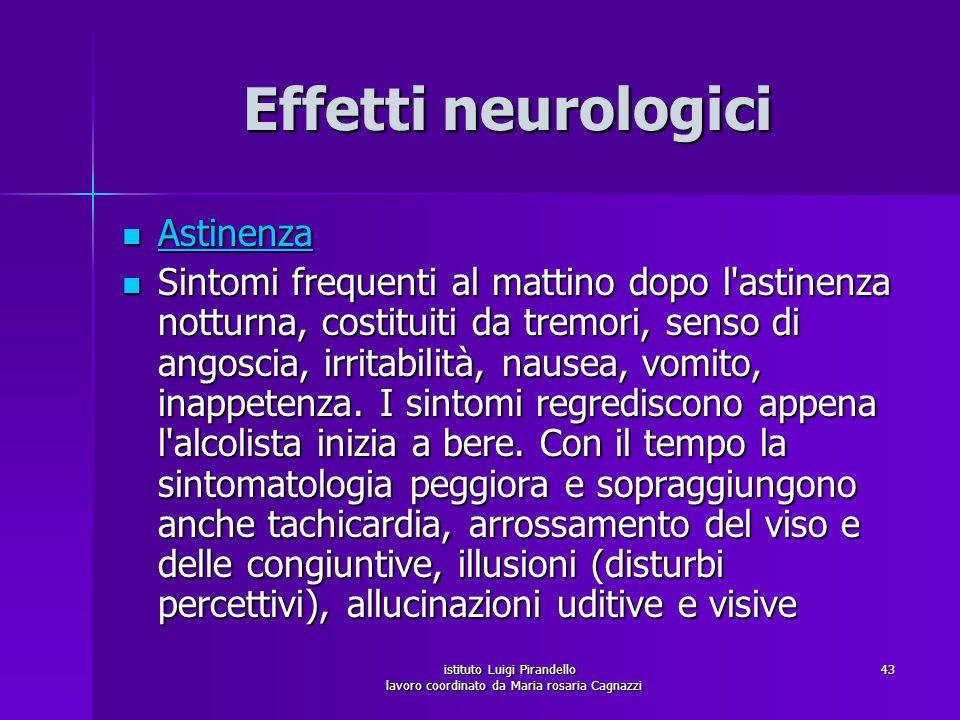 istituto Luigi Pirandello lavoro coordinato da Maria rosaria Cagnazzi 43 Effetti neurologici Astinenza Astinenza Astinenza Sintomi frequenti al mattin