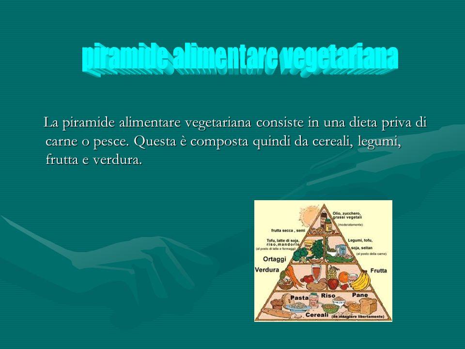 La piramide alimentare vegetariana consiste in una dieta priva di carne o pesce. Questa è composta quindi da cereali, legumi, frutta e verdura. La pir