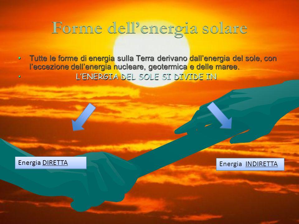 Tutte le forme di energia sulla Terra derivano dallenergia del sole, con leccezione dellenergia nucleare, geotermica e delle maree.Tutte le forme di e
