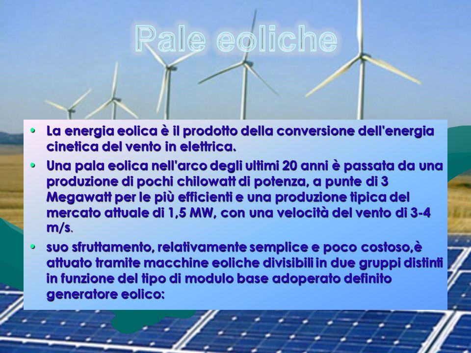 La energia eolica è il prodotto della conversione dell'energia cinetica del vento in elettrica. La energia eolica è il prodotto della conversione dell