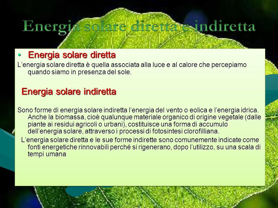 Energia solare direttaEnergia solare diretta Lenergia solare diretta è quella associata alla luce e al calore che percepiamo quando siamo in presenza