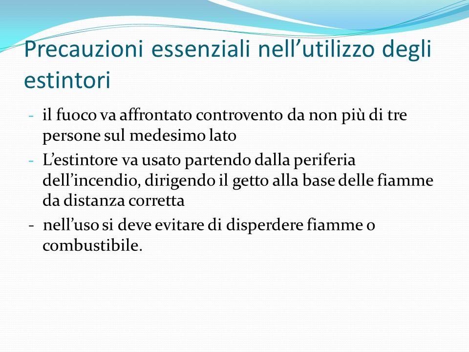 Precauzioni essenziali nellutilizzo degli estintori - il fuoco va affrontato controvento da non più di tre persone sul medesimo lato - Lestintore va u