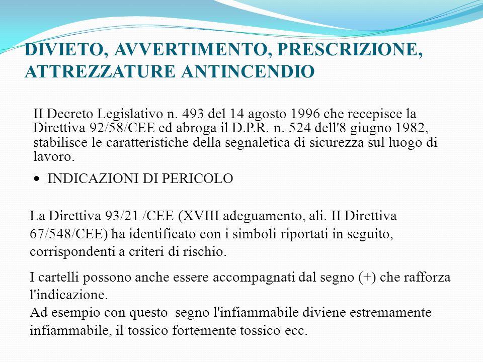 DIVIETO, AVVERTIMENTO, PRESCRIZIONE, ATTREZZATURE ANTINCENDIO II Decreto Legislativo n. 493 del 14 agosto 1996 che recepisce la Direttiva 92/58/CEE ed