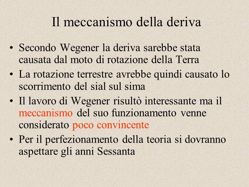 Il meccanismo della deriva Secondo Wegener la deriva sarebbe stata causata dal moto di rotazione della Terra La rotazione terrestre avrebbe quindi causato lo scorrimento del sial sul sima Il lavoro di Wegener risultò interessante ma il meccanismo del suo funzionamento venne considerato poco convincente Per il perfezionamento della teoria si dovranno aspettare gli anni Sessanta