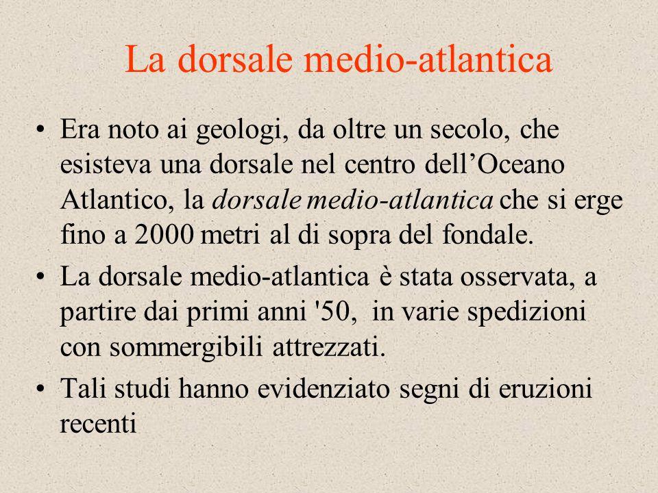 La dorsale medio-atlantica Era noto ai geologi, da oltre un secolo, che esisteva una dorsale nel centro dellOceano Atlantico, la dorsale medio-atlantica che si erge fino a 2000 metri al di sopra del fondale.