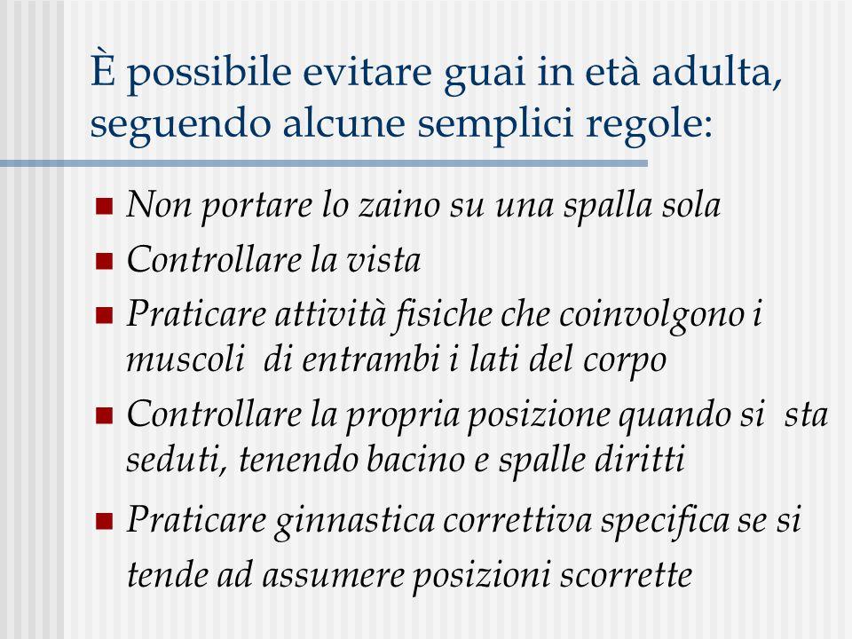 È possibile evitare guai in età adulta, seguendo alcune semplici regole: Non portare lo zaino su una spalla sola Controllare la vista Praticare attivi