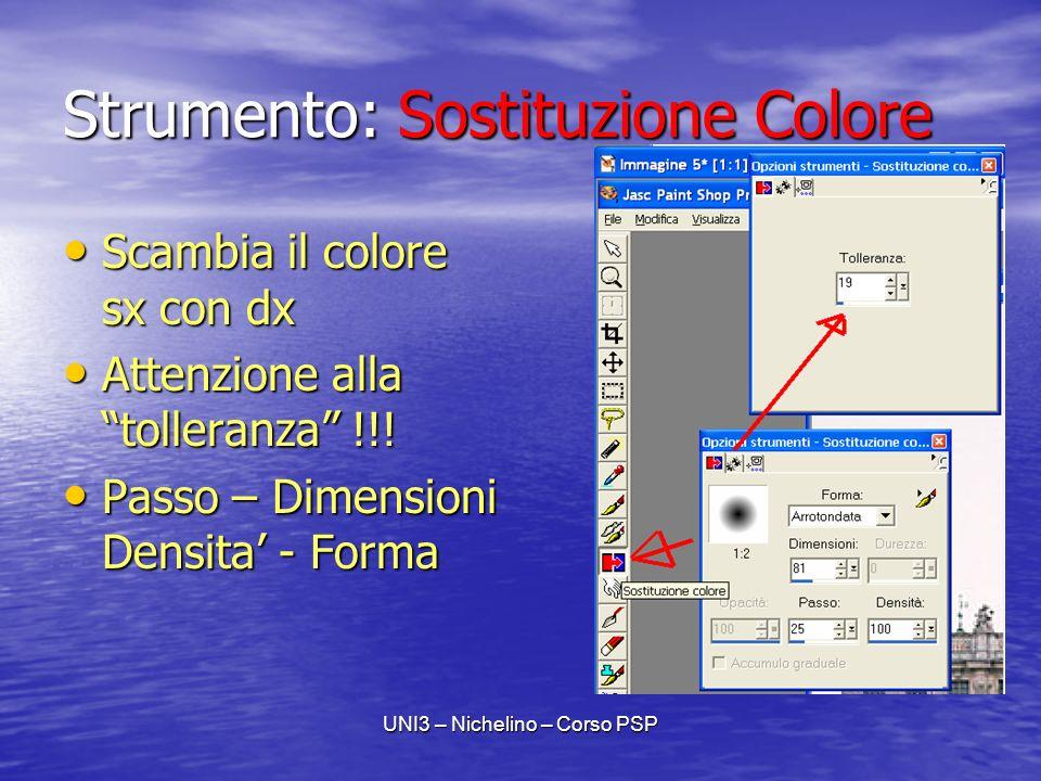 UNI3 – Nichelino – Corso PSP Strumento: Sostituzione Colore Scambia il colore sx con dx Scambia il colore sx con dx Attenzione alla tolleranza !!.