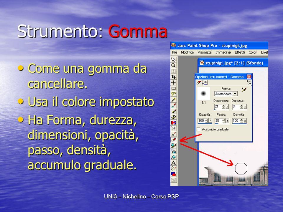 UNI3 – Nichelino – Corso PSP Strumento: Gomma Come una gomma da cancellare.