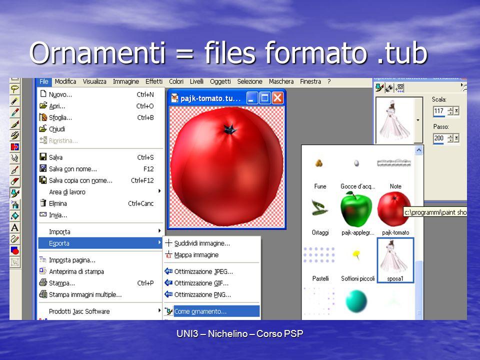 UNI3 – Nichelino – Corso PSP Ornamenti = files formato.tub