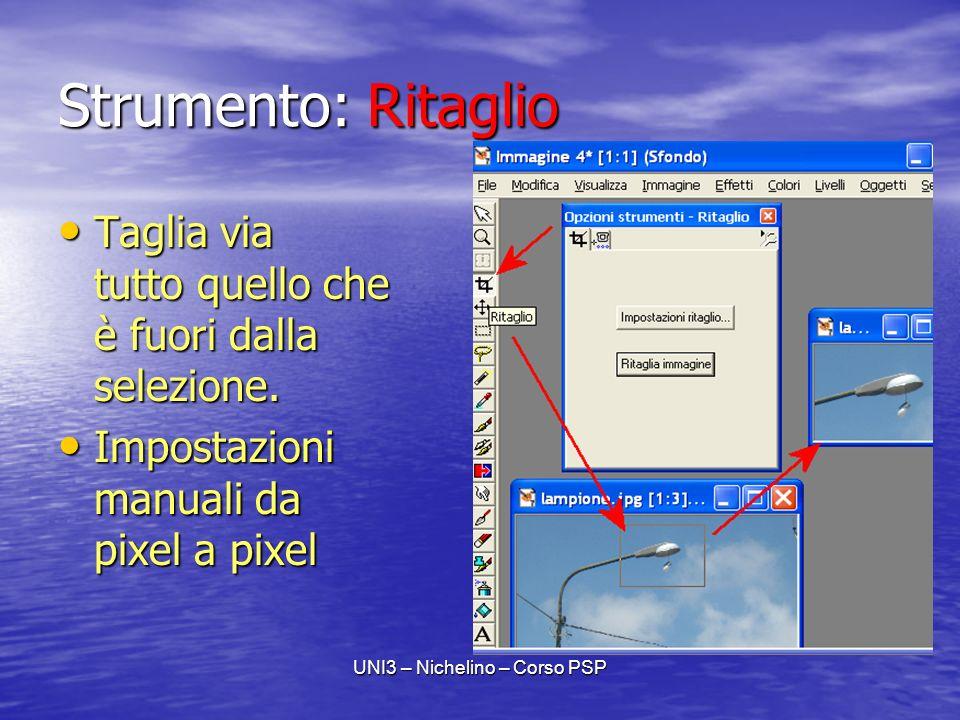 UNI3 – Nichelino – Corso PSP Strumento: Ritaglio Taglia via tutto quello che è fuori dalla selezione.
