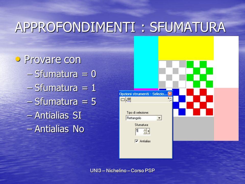 UNI3 – Nichelino – Corso PSP APPROFONDIMENTI : SFUMATURA Provare con Provare con –Sfumatura = 0 –Sfumatura = 1 –Sfumatura = 5 –Antialias SI –Antialias No