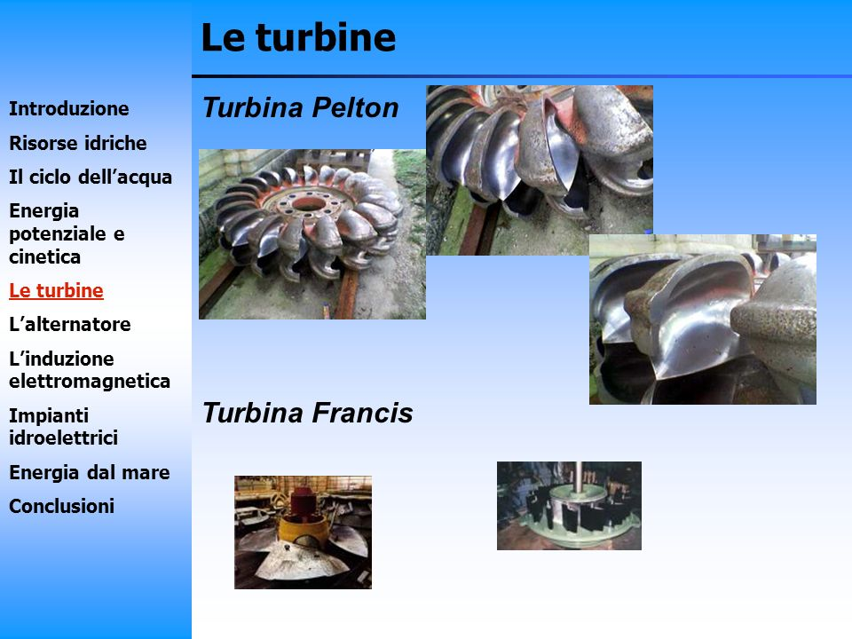 Le turbine Turbina Pelton Turbina Francis Introduzione Risorse idriche Il ciclo dellacqua Energia potenziale e cinetica Le turbine Lalternatore Linduz
